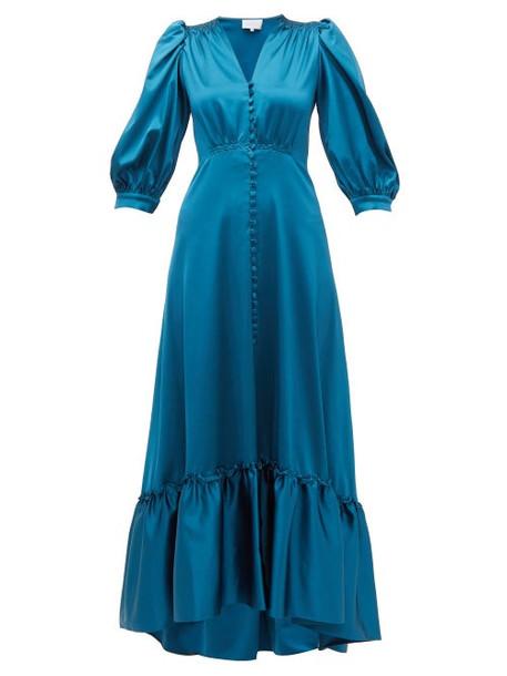 Luisa Beccaria - V Neck Puff Sleeved Gathered Satin Dress - Womens - Blue
