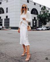 skirt,midi skirt,white skirt,satan,sandal heels,white sweater,turtleneck sweater,bag