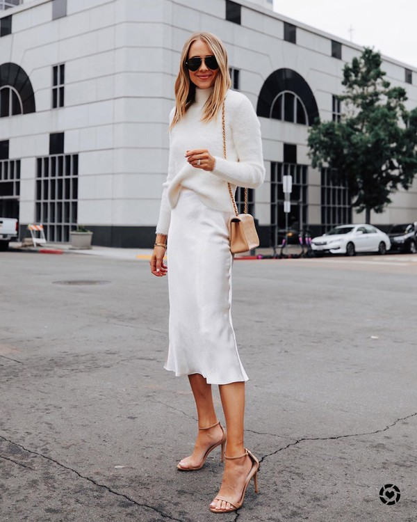 skirt midi skirt white skirt satan sandal heels white sweater turtleneck sweater bag