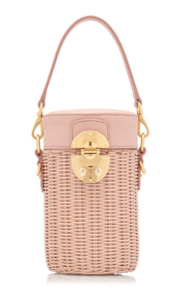 Miu Miu Midollino Leather-Trimmed Rattan Bucket Bag in pink