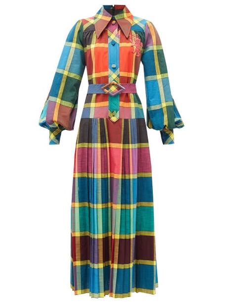 Gucci - Madras-check Pleated Cotton Fil-á-fil Shirtdress - Womens - Yellow Multi