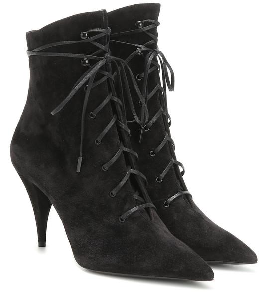 Saint Laurent Kiki 85 suede ankle boots in black