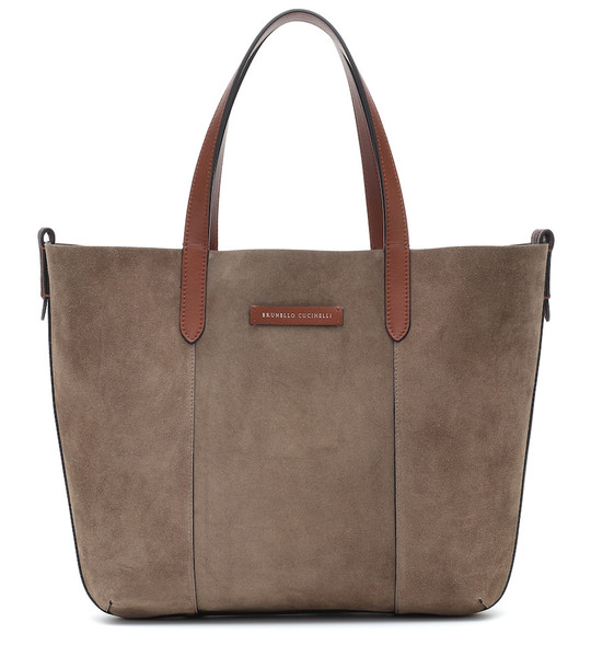 Brunello Cucinelli Reversible suede and leather shopper in brown