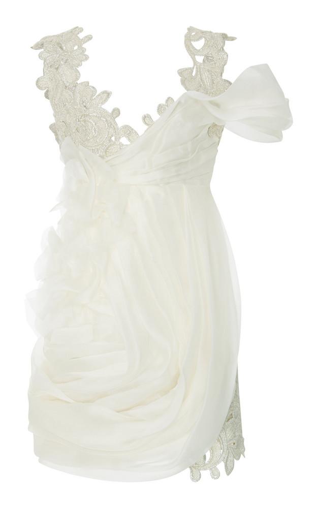 Ermanno Scervino Embroidered Lace Draped Mini Dress in white