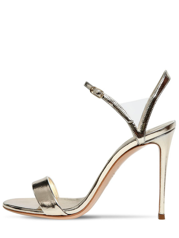 CASADEI 100mm Metallic Leather Sandals in gold