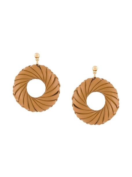 Bottega Veneta doughnut-shaped wrapped earrings in brown