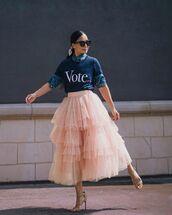 skirt,tulle skirt,midi skirt,sandal heels,t-shirt,denim shirt