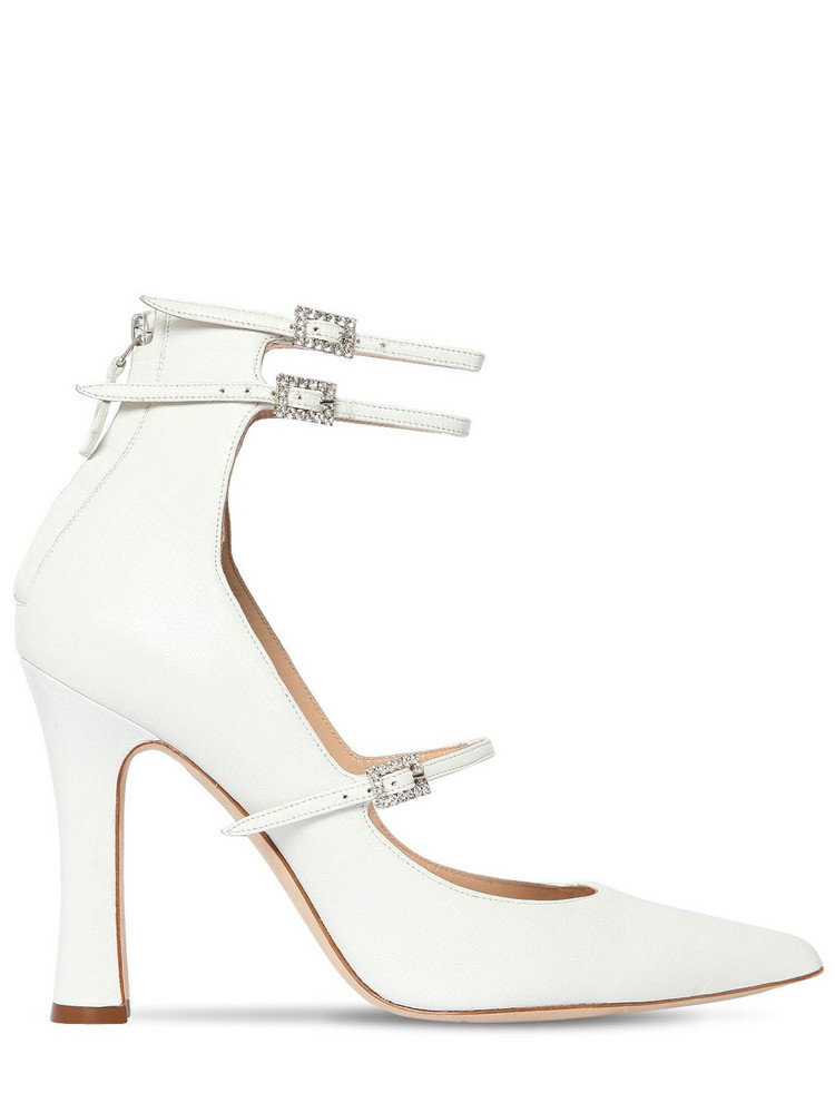 ALESSANDRA RICH 105mm Mary Jane Leather Pumps in white
