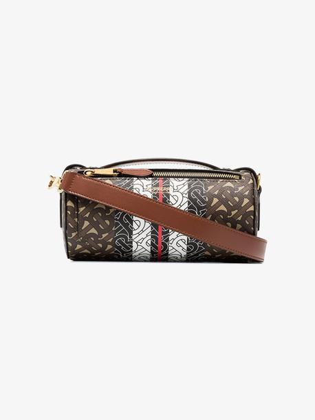 Burberry multicoloured monogram stripe barrel cross body bag in brown