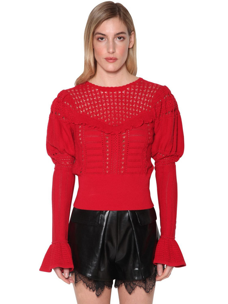 SELF-PORTRAIT Techno Knit Lace Top in red