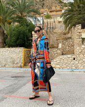 bag,black bag,maxi dress,flat sandals
