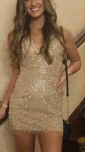 dress,gold sequins,short