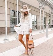 skirt,white skirt,lace skirt,layered,mini skirt,slide shoes,brown bag,white sweater,hat