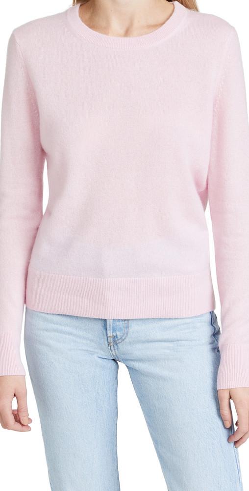 White + Warren White + Warren Cashmere Classic Crew Neck Sweater in pink