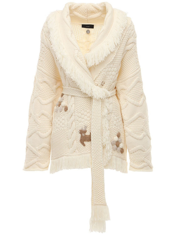 ALANUI Embroidered Stitch-mas Wool Cardigan in white