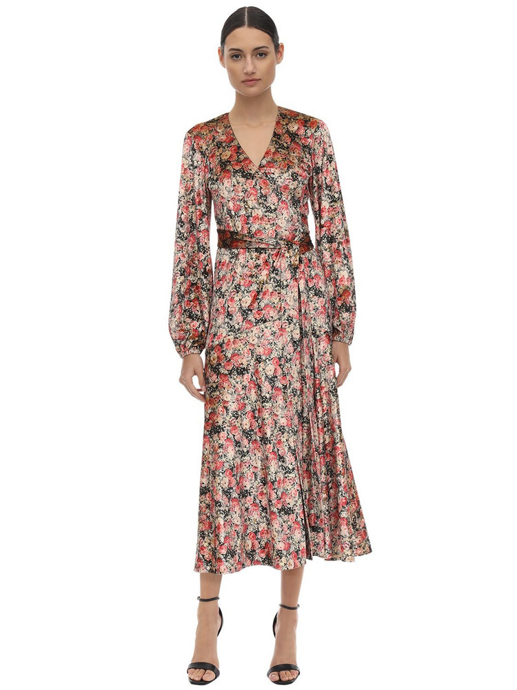 ROTATE Printed Velvet Wrap Dress