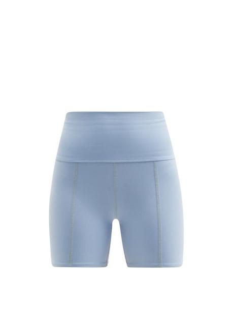 Live The Process - Geometric High-rise Stretch-jersey Cycling Shorts - Womens - Light Blue