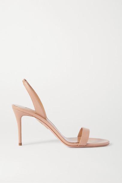 Aquazzura - So Nude 85 Leather Slingback Sandals - Neutral