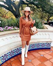 dress,mini dress,wrap dress,white boots,knee high boots,bag,hat