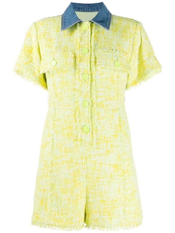 SJYP tweed and denim romper in yellow