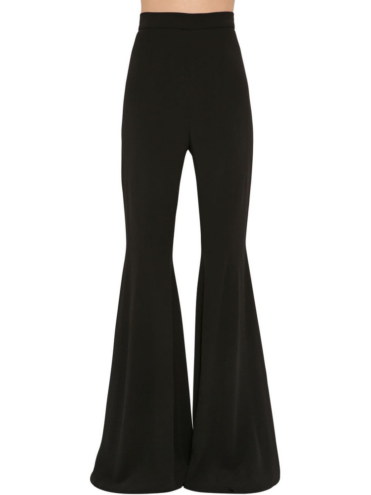 BALMAIN High Waist Flared Crepe Pants in black