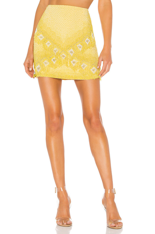 X by NBD Marley Embellished Skirt in yellow