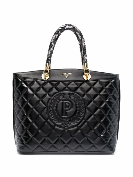 Pollini faux-leather quilted tote bag - Black