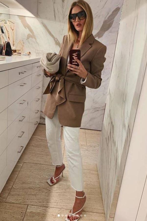 jacket blazer brown rosie huntington-whiteley model off-duty instagram pants sandals