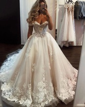 dress,white,white wedding dress,white dress,strapless dress,puffy dress,flower detailing,floor length,wedding dress,flower details