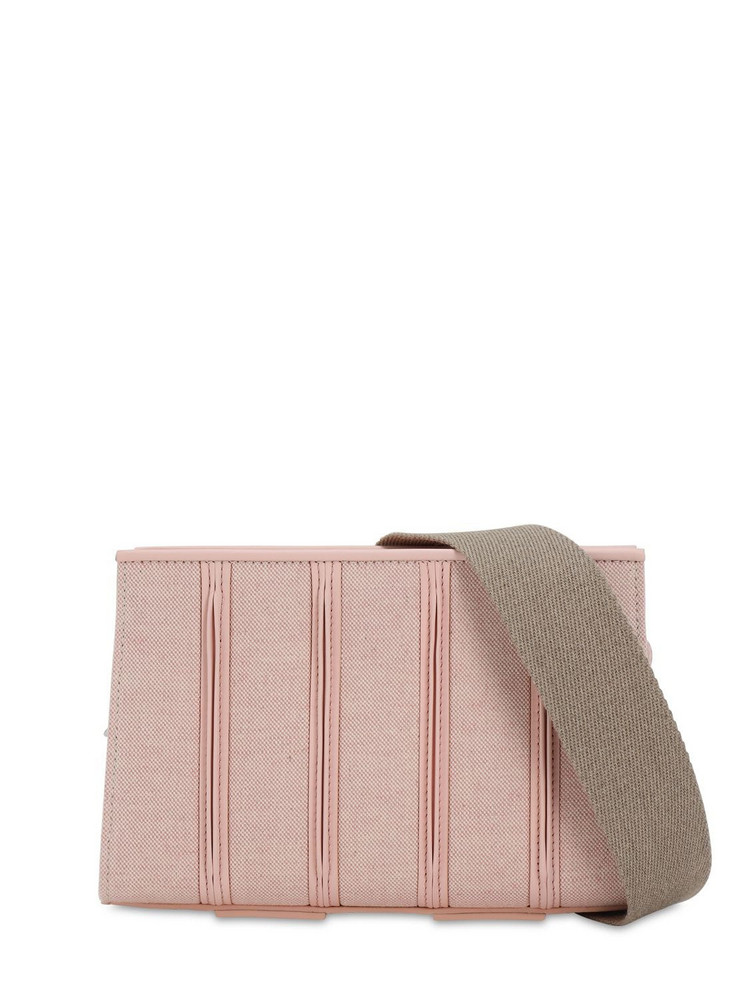 MAX MARA Canvas & Leather Shoulder Bag in pink