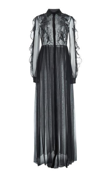 Valentino Ruffled Silk Shirt Dress in black