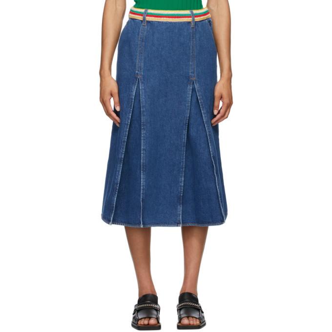 Wales Bonner Blue Denim Saint Catherine Skirt in indigo