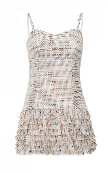 Huishan Zhang Winona Fringed Tweed Top in neutral