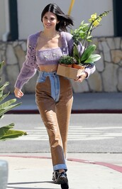 sweater,lilac,cardigan,crop tops,kendall jenner,kardashians,model off-duty,streetstyle,spring outfits