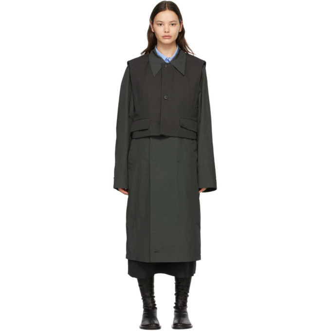ADER error Grey Layered Coat in charcoal