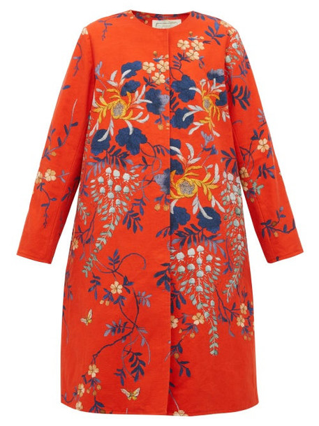 By Walid - Tanita Floral Print Cotton Coat - Womens - Red Multi