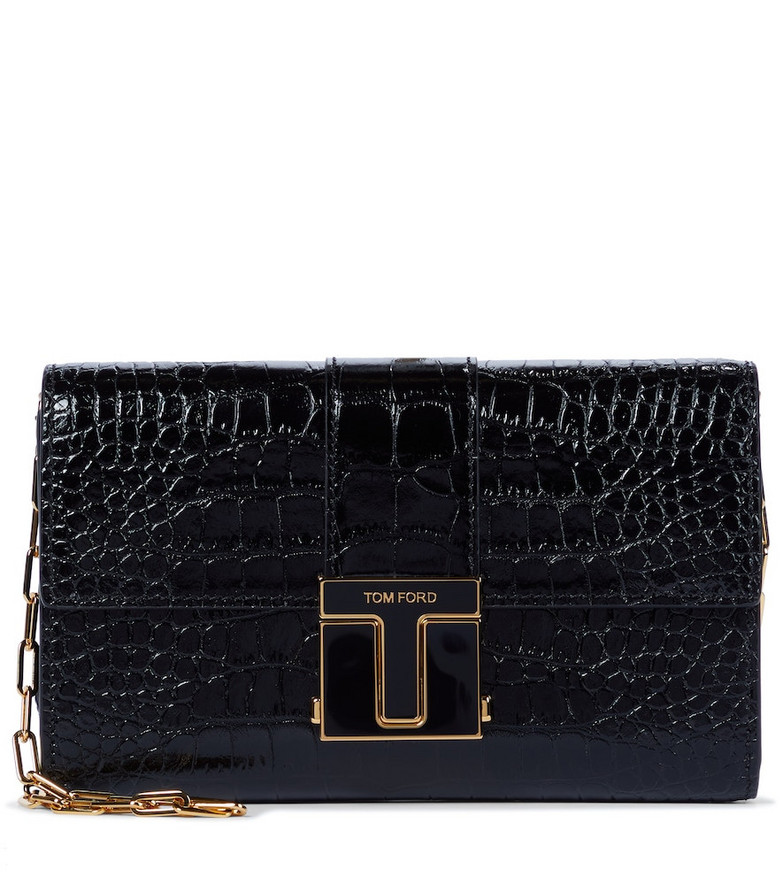 Tom Ford 001 Small croc-effect leather clutch in black