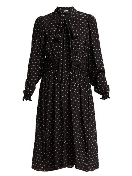 Balenciaga - Reverence Bb Print Tie Neck Silk Dress - Womens - Black Print