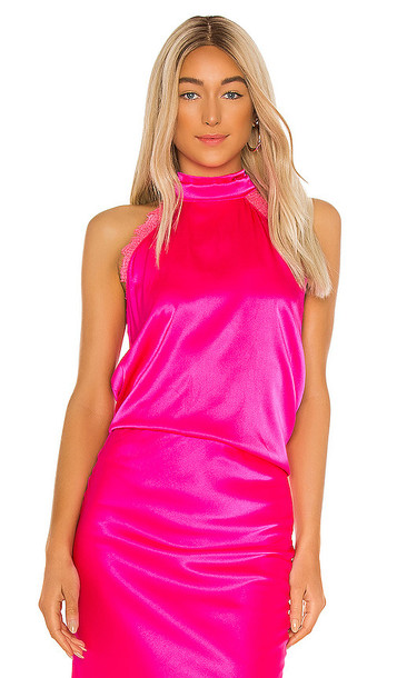 Generation Love Alyssa Lace Halter Blouse in Fuchsia