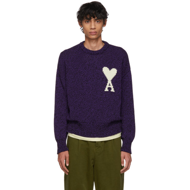 AMI Alexandre Mattiussi Purple & Black Oversized Ami De Coeur Sweater