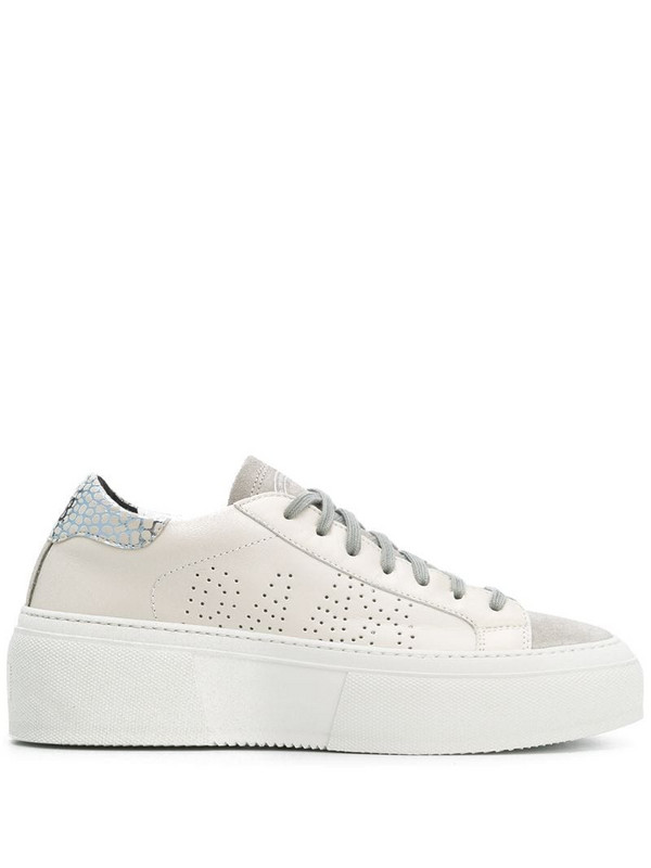P448 perforated lace up sneakers in white