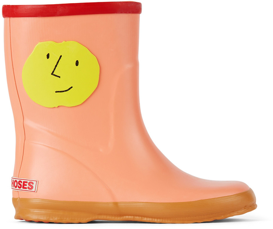 Bobo Choses Kids Pink Faces Rain Boots in peach