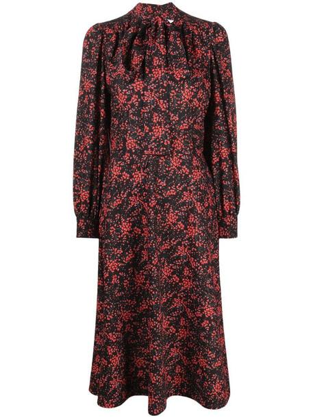 See by Chloé floral-print midi dress in black