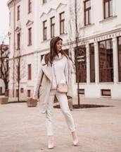 sweater,turtleneck sweater,heel boots,white jeans,straight jeans,pink bag,teddy bear coat,white coat