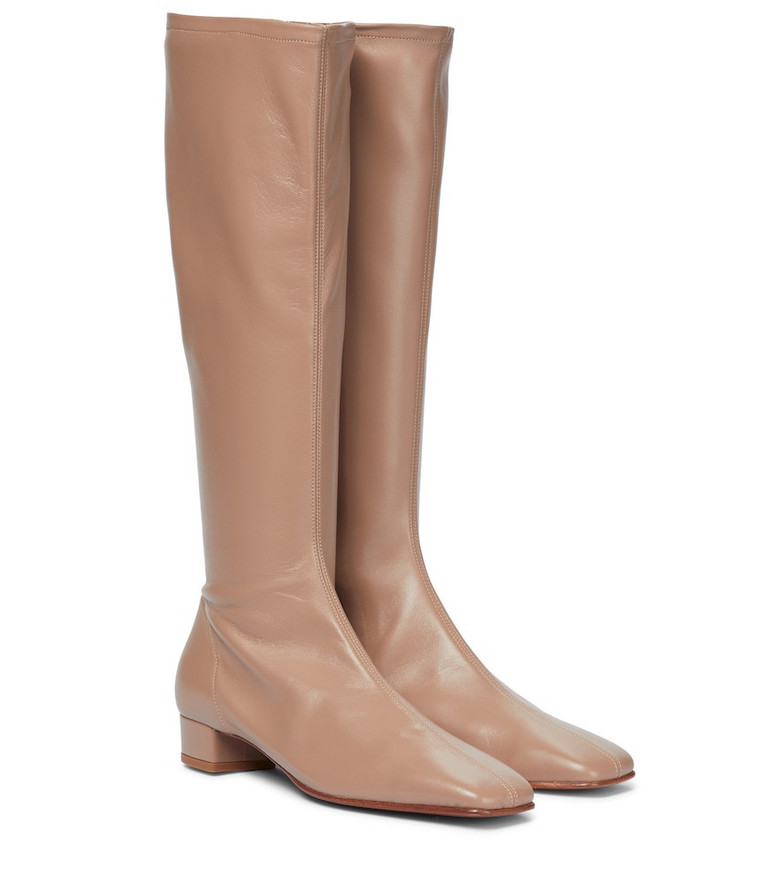 BY FAR Edie leather knee-high boots in beige