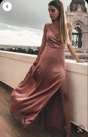 dress,prom dress,silk,satin,pink,rose