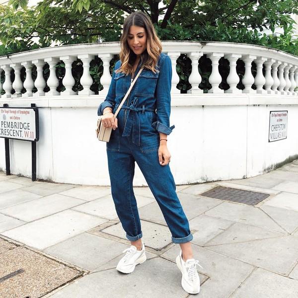 jumpsuit denim long sleeves white sneakers crossbody bag