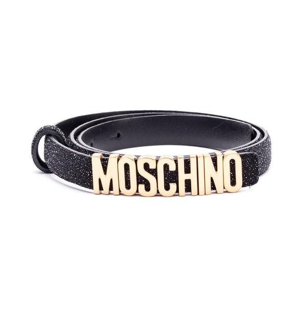 Moschino Moschino Glittered Leather Belt in black