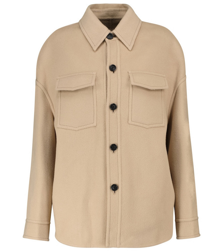 AMI PARIS Wool and cashmere jacket in beige
