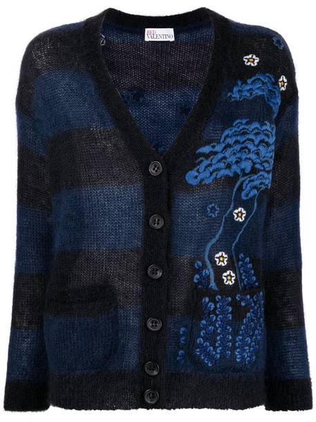 RED Valentino intarsia-knit buttoned cardigan in blue